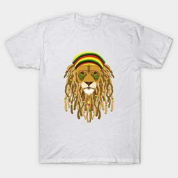 2017 Newest Brand Clothes White Hipster Rasta Lion Print T Shirt Cool Glasses Lion Bob Marley Design T-Shirt Modal Hip Hop Tops