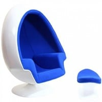 LexMod Eero Aarnio Alpha Shell Egg Chair And Ottoman in Blue