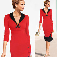 Deep V-neck Slim Mermaid Knee-length Office Dress