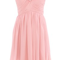 Dressystar Short Chiffon Bridesmaid Dresses with Floral Embellishment on Neckline