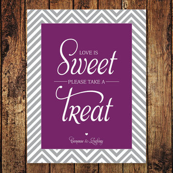 Love is Sweet Please Take a Treat, Printable Sign, Wedding Reception Art Print - Print at Home 8x10 Wedding Reception Sign, Chevron Print