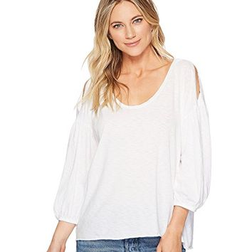 Michael Stars Supima® Cotton Slub 3/4 Puff Sleeve Soft V-Neck