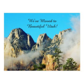 Mountains and Clouds Utah New Address Announcement Postcard