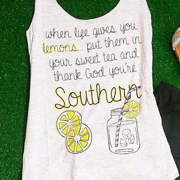 WHEN LIFE GIVES YOU LEMONS TANK IN GREY