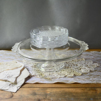 Cake Serving Set, Dessert Set, Wedding Cake Stand, Vintage Cake Stand, Mikasa Glass Cake Set, Clear Glass  Cake Plate, Pedestal Cake Stand