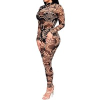 TAUPIN AM Mesh Rompers Womens Jumpsuit Women Tribal Tattoo Printing Long Sleeve Sexy Romper Celebrity Catsuit Bodycon Jumpsuit