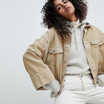Weekday Contrast Stitch Crop Jacket at asos.com