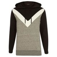 V Striped Color Block Hoodie