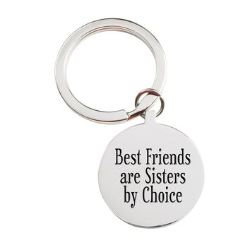 Solid Stainless Steel Inspirational Keychain - Best friends