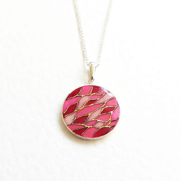 Pendant Hand painted  Pink Mosaic. pink mosaic golden gift for her