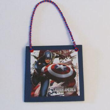 Captain America Door Knob Hanger - Boys Room Decor - Christmas Ornament - Avengers Door Knob Hanger
