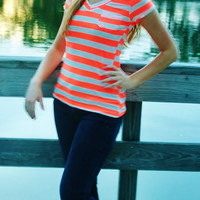 Bright Coral & Heather Gray Striped V-Neck T-Shirt