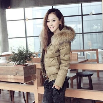 The new winter 2014 women's European and American fur collar down jacket coat female short paragraph = 1931786692