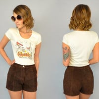 vtg 70's HIPPIE Chocolate Brown high waist bohemian festival SUEDE SHORTS hot pants, extra small-small