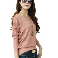 Imixcity Women's Hollow Batwing Sleeve Pullover Sweater (Pink)