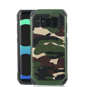 Luxury Army Camo Camouflage Hybrid Phone Cases For Samsung Galaxy S8 S8 Plus Case 2 in 1 Shockproof Armor Protective Back Cover