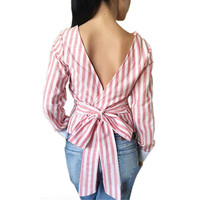Plus Size Sexy Striped Open Back Deep V tops Long Sleeved Bandage Shirt For Women Ladies Autumn Clothes LX008