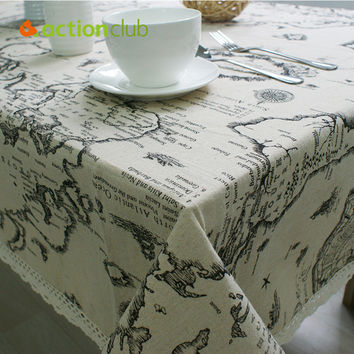 2016 New Arrival Table Cloth World Map High Quality Lace Tablecloth Decorative Elegant Table Cloth Linen Table Cover HH1534