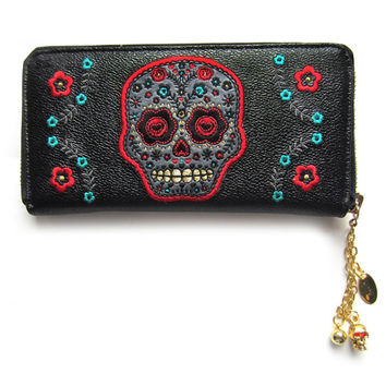 Banned Day of the Dead Flower Sugar Skull Embroidered Zip Around Wallet