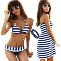 T&LOL 2013 Hot New Fashion sexy women girls teens ladies Padded Bandeau Bikini 3pcs 3 Pieces Set Trikini Push up Swimming Swimsuit Swimwear underwear Bra top Bottom Beachwear Bathing Suit BLUE WHITE Striped Cover Up Dress (L)