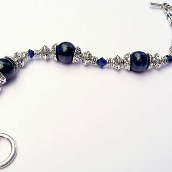 Dark Blue Dumortierite Silver-Plated Gemstone Toggle Bracelet - Dark Indigo Swarovski Crystal Gemstone Bracelet