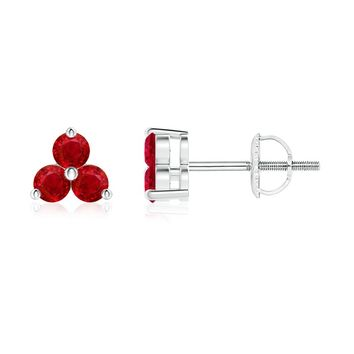 Classic Ruby Three Stone Stud Earrings