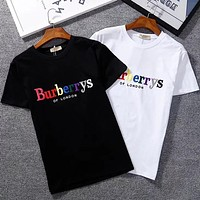 Burberry fine embroidered color letters men and women fashion wild short-sleeved T-shirt F-GQHY-DLSXF-GQHY-DLSX black