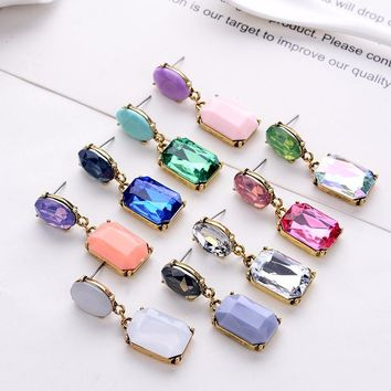LUBOV Multicolor Square Candy Drop Earrings Pendant Fashion Jewelry for Women 2018 New Fashion Christmas Party Wedding Earrings