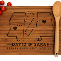 Personalized Cutting Board, Custom Wedding Gift, Where It All Began, Two States, Hearts, Alabama, Mississippi, Engagement Gift