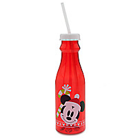 Mickey Mouse Holiday Drink Bottle with Straw