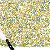 """Kess InHouse Julia Grifol """"Warm Tropical Leaves"""" Cutting Board, 11.5 by 8.25-Inch, Multicolor"""