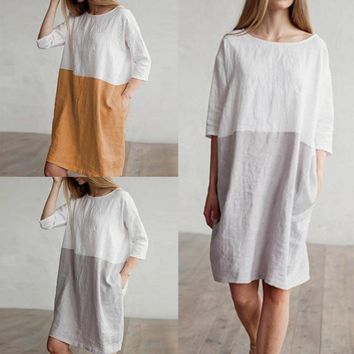 Women Spring Dress Cotton Linen Two color Stitching Vintage Dress Casual Clothes Short Sleeve Retro Clothing