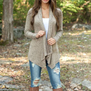 SOLID COLOR IRREGULAR CARDIGAN COAT
