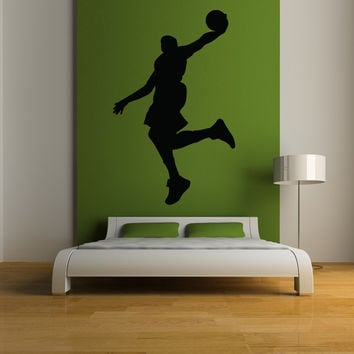 Basketball player dunking silhouette wall decal
