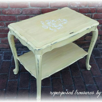 Vintage shabby chic, cottage, distressed side table with drawer, french country end table, country cottage, distressed, Upcycled