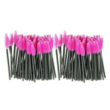 New 100pcs/lot Make Up Brush Pink Synthetic Fiber One Off Disposable Eyelash Brush Mascara Applicator Wand Brush Best Deal