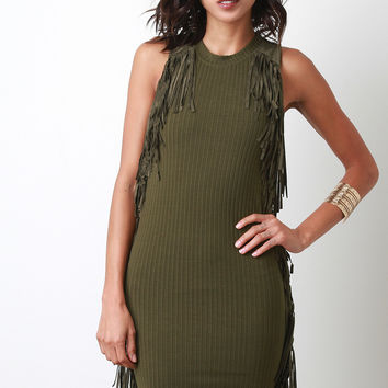 Suede Fringe Side Dress