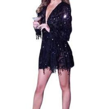 Seductive Tassel Sequined Black Long Sleeve Mini Dress