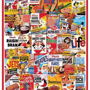 Jig Saw Puzzle 1000 Piece Cereal Box Nostalgia Wall Decor Game Fun Family Skill