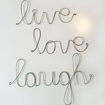Inspirational LIVE LOVE LAUGH Wire Wrapped Trio Sign by AntoArts