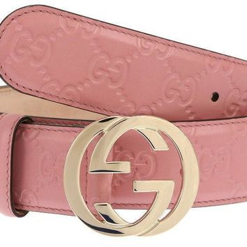NEW GUCCI LADIES MAUVE PINK GG GUCCISSIMA LEATHER G BUCKLE BELT 100/40