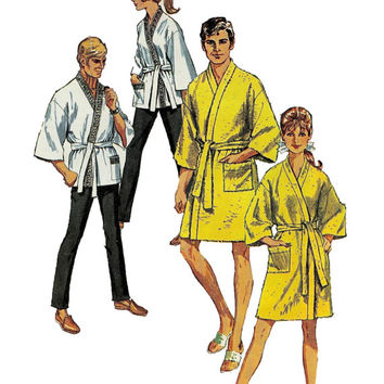 1960s Womens KIMONO ROBE PATTERN Hopi Coat Smoking Jacket Bust 31.5 Easy to Sew Simplicity 8256 Vintage Misses Sewing Patterns Mad Men Style