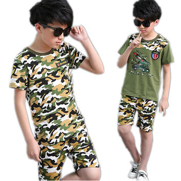 Boys Summer Army Camouflage Clothes Set Tshirt Shorts Clothing Set Age 3 4 5 6 7 8 9 10 11 12 Year Old Children Clothes 2PCS Set