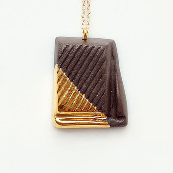 Dark Chocolate with Gold Glaze - handmade ceramic jewellery dessert