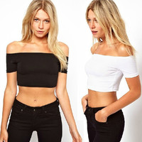 All-match Casual Fashion Sexy Female Solid Color Off Shoulder Short Sleeve T-shirt Crop Top