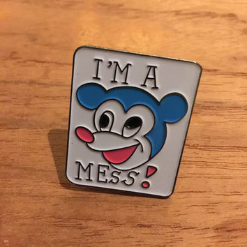 Peter Corrie I'm A Mess Mickey Metal Enamel Pin Badge