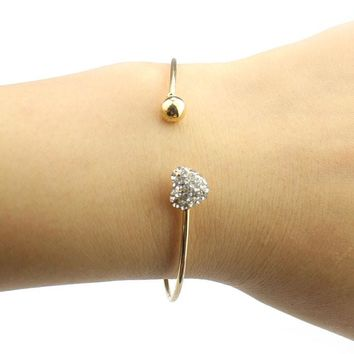 Simple Rhinestone Heart Open Bangle Bracelet