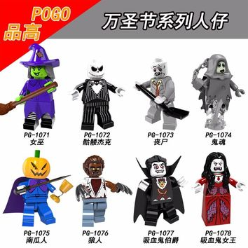 PG8080 Halloween The Horror Theme Movie Vampire Count Queen Akasha Jack Skellington Zombie Building Blocks Toys Kids Gift