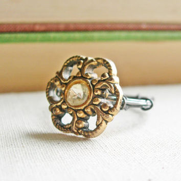 Vintage Button Ring, Metal Button Ring, Wire Wrap Ring, Antique Button Ring, Wire Ring, Upcycled Jewelry, Size 7 Ring, Flower Ring