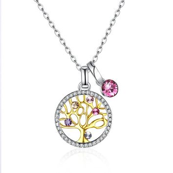 Sterling Silver Tree of Life Swarovski Crystal Necklace